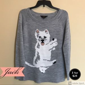 JACK Gray Sweater with White Puppy Acrylic Small
